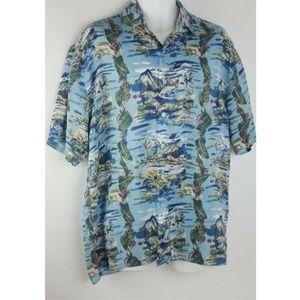Hilo Hattie Blue Hawaiian Original 100% Silk Camp
